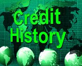 Credit History Represents Debit Card And Bankcard