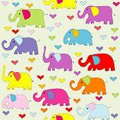 Cartoon Colored Elephants Seamless Pattern