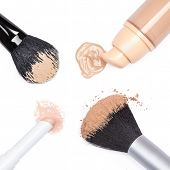 Foundation, Concealer Pencil And Powder With Makeup Brushes