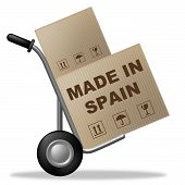 Made In Spain Shows Shipping Box And Cardboard