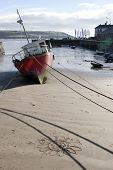 Fishing Boats Tied Up In Youghal Bay