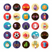 Set of flat design sport, fitness and healthy lifestyle icons