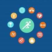 Set health and fitness circular icons. Infographics.