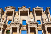 Facade of ancient Celsius Library in Ephesus Turkey