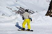 Skier at mountains ski resort Innsbruck Austria - nature and sport background
