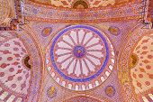 Blue mosque interior in Istanbul Turkey - architecture religion background