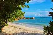 Tropical beach Source D'Argent at Seychelles - nature background