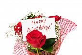 Roses bouquet and card Happy Birthday isolated on white background