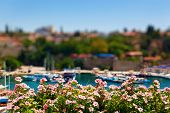 Old harbour in Antalya, Turkey - travel background