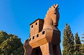 Trojan Horse at Troy Turkey - travel background