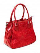 Red handbag isolated on white background