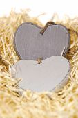 Grey Wooden Love Hearts With Copy Space