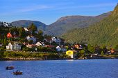 Town Sogndal and fjord in Norway - nature and travel background