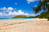 Tropical beach Cote d'Or at island Praslin Seychelles - vacation background