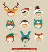 Christmas cute kids icons - deer, bear, santa, fox, bunny