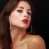 Sexual Beauty Skin And Bright Makeup Woman Face. Closeup