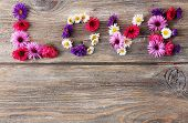 Love word formed with little flowers on wooden background