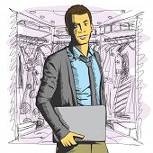 Vector business man with laptop in his hands