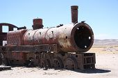 Vintage train at Train Cemetery in Bolivian desert