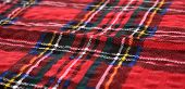 Red Scottish pattern textile material