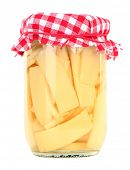 Bamboo slices in glass jar