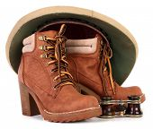 Pith helmet and brown leather boots for adventure