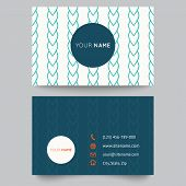 Business card template, blue and white pattern vector design editable