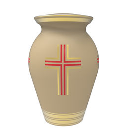 foto of urn funeral  - Cremation urn with cross 3d render isolated on white - JPG