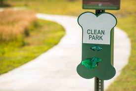 stock photo of feces  - Poo Free Park Sign - JPG
