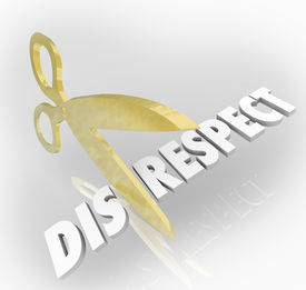 picture of disrespect  - Disrespect word cut by scissors to show respect and honor toward others with proper deference and obeying rules and norms - JPG