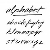 foto of hand alphabet  - Hand drawn vector alphabet font isolated letters written with marker or ink - JPG