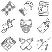stock photo of paintball  - Set of black flat line vector icons for paintball equipment and accessory on white background - JPG