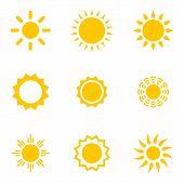 stock photo of morning sunrise  - Set of vector suns - JPG