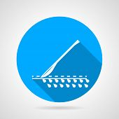 picture of scalpel  - Flat circle blue vector icon with white silhouette cutting scalpel - JPG