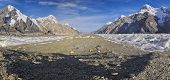 foto of shan  - Scenic panorama of base camp on Engilchek glacier in picturesque Tian Shan mountain range in Kyrgyzstan - JPG