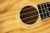 foto of ukulele  - Closeup of brown wooden ukulele hawaiian guitar - JPG