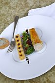 stock photo of coco  - Chicken fillet polenta cake and coco basil and figs