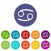 stock photo of cancer horoscope icon  - Cancer web flat icon in different colors - JPG