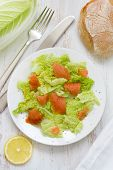 Salad With Smoked Salmon On Plate And Bread