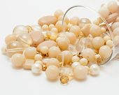 stock photo of beads  - Close up of yellow and golden beads - JPG