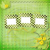 Grunge Paper Slides With Flowers Pumpkins And Ribbons For Design