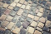 Постер, плакат: Old Stone Road Pavement Background Texture