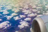 picture of aeroplane  - Beautiful cloud sky view from aeroplane window - JPG