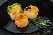 picture of scallop-shell  - Grilled scallops in the bowl with herbs - JPG