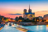 picture of notre dame  - Picturesque cityscape of Cathedral of Notre Dame de Paris at sunset - JPG