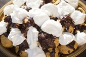 pic of cream puff  - homemade profiterole with chocolate cream and cream puff  - JPG