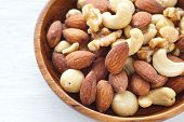image of mixed nut  - Close - up Mix of nuts on white background