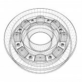 stock photo of ball bearing  - steel ball roller bearings body structure wire model - JPG