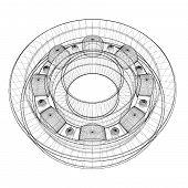 stock photo of bearings  - steel ball roller bearings body structure wire model - JPG