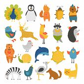 Постер, плакат: Cute animals collection baby animals animals vector